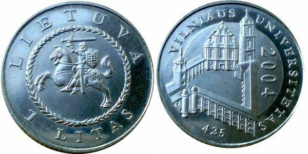 LITHUANIA 1 LITAS 2004 425 YEARS OF VILNIUS UNISERSITY  rare  COIN circilated
