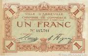 1 franc - Ville et Chambre de Commerce d'Abbeville [80] <Filigrane abeilles> – obverse