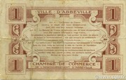 1 franc - Ville et Chambre de Commerce d'Abbeville [80] <Sans timbre sec> – reverse
