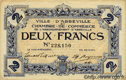 2 francs - Ville et Chambre de Commerce d'Abbeville [80] <Filigrane abeilles> – obverse