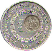 300 Réis (Countermarked issue over 200 Réis - Pedro II; Brasil Imp.) – obverse