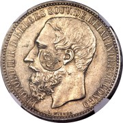 1200 Réis - Luis I (Countermarked over 5 Francs - Congo Free State) – obverse