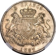 1200 Réis - Luis I (Countermarked over 5 Francs - Congo Free State) – reverse