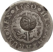 300 Réis (Countermarked over 2 Reales - Carlos III; Spain) – obverse