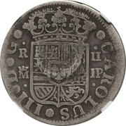300 Réis (Countermarked over 2 Reales - Carlos III; Spain) – reverse