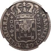 600 Réis (Countermarked over 1 Cruzado - Portugal) – reverse