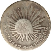 300 Réis (Countermarked over 2 Reales; Mexico Republic) – reverse