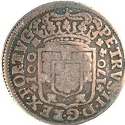 """200 Réis - Luis I (Countermarked issue over """"6 Vinténs - Pedro II; Porto"""") – reverse"""