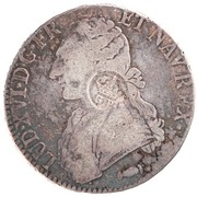 """1200 Réis - Luis I (Countermarked issue over """"1 Ecu - Louis XVI; France"""") – obverse"""