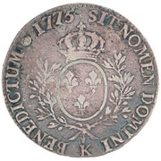"""1200 Réis - Luis I (Countermarked issue over """"1 Ecu - Louis XVI; France"""") -  obverse"""