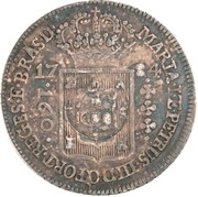 """200 Réis - Luis I (Countermark issue over """"160 Réis - Maria I & Pedro III; Brazil"""") – obverse"""
