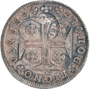 "200 Réis - Luis I (Countermark over ""150 Réis - Maria I; Azores"") – reverse"