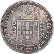 "200 Réis - Luis I (Countermark over ""150 Réis - Maria I; Azores"") – obverse"