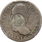 300 Réis (Countermarked issue over 2 Reales - Fernando VI; Spain) – reverse