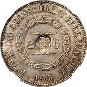 "1200 Réis - Luis I (Countermarked issue over ""2000 Réis - Pedro II; Brazil"") – obverse"