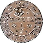 40 Réis - Luiz I (Countermarked over ½ Macuta-Angola) – obverse