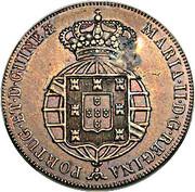 40 Réis - Luiz I (Countermarked over ½ Macuta-Angola) – reverse