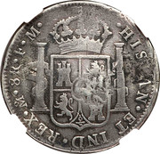 1200 Réis - Luis I (Countermarked over 8 Reales - Carlos IIII; Spain) – reverse