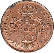 40 Réis - Luiz I (Countermarked over 20 Réis - Açores) – reverse