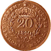 "20 Réis - Luiz I (Countermarked issue over ""20 Réis - Maria II; Mozambique) – obverse"
