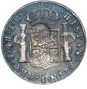 600 Réis (Countermarked over 4 Reales - Carlos III; Bolívia) – obverse