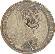 1200 Réis - Luis I (Big Crown countermark over 1 Thaler - Maria Theresa; Austria) – obverse