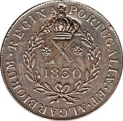 "20 Réis - Luis I (Countermarked issue over ""X réis - Maria II; Azores"") – reverse"