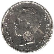 1200 Reis - Luiz I (countermarked issue with fake stamp) – obverse