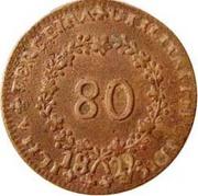 80 Réis - Maria II – reverse