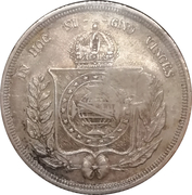 """300 Réis - Luis I (Countermarked issue over """"500 Réis - Pedro II; Brazil"""") – reverse"""