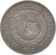 """600 Réis - Luis I (Countermarked issue over """"1000 Réis - Pedro II; Brazil"""") – obverse"""