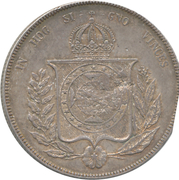 """600 Réis - Luis I (Countermarked issue over """"1000 Réis - Pedro II; Brazil"""") – reverse"""