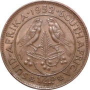 ¼ Penny - George VI (SUID AFRIKA - SOUTH AFRICA) – reverse