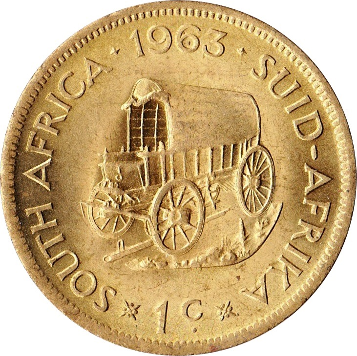 1964 South Africa One 1 Cent BU Pioneer Wagon Unity is Strength Coin