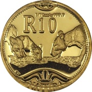 1/10 Ounce / 10 Rand (Natura - Lion) – reverse