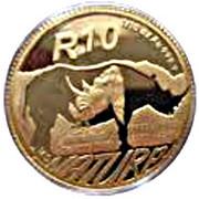 1/10 Ounce / 10 Rand (Natura - Black Rhino) – reverse