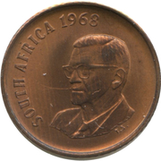 1 Cent (Charles Swart; English Legend - SOUTH AFRICA) – obverse