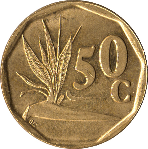 moeda de 50 centimos da africa do sul com estrelicia
