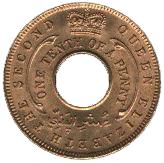 1/10 Penny - Elizabeth II – obverse