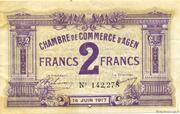 2 francs - Chambre de Commerce d'Agen [47] <Filigrane abeilles> – obverse