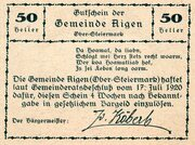 50 Heller (Aigen; Grey issue) -  reverse