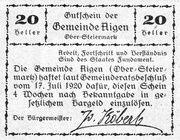 20 Heller (Aigen; Light green issue) – reverse