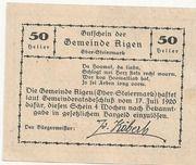 50 Heller (Aigen) – reverse