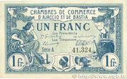 1 Franc - Chambre de Commerce d'Ajaccio et de Bastia (20) – obverse