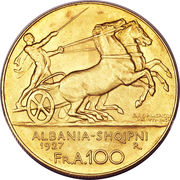 100 Franga Ari (Zog) – obverse