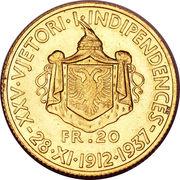 20 Franga Ari - Zog I (25th Anniversary of Independence) -  reverse