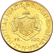 100 Franga Ari - Zog I (Royal Marriage) -  reverse