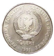 10 Lekë (1992 Summer Olympic Games) – obverse