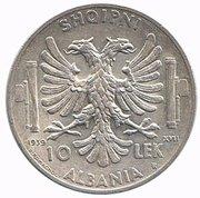 10 Lek - Vittorio Emanuele III – reverse