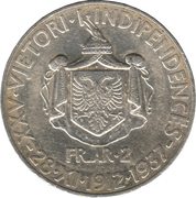 2 Franga Ari - Zog I (25th Anniversary of Independence) -  reverse